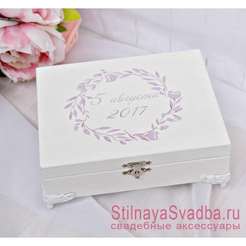 Свадебная шкатулка для колец Сиреневый венок фото