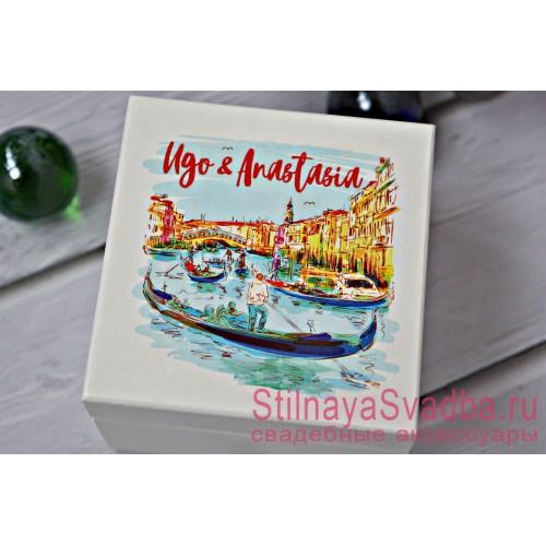 Свадебная шкатулка для колец Венеция фото