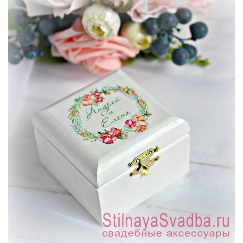 Свадебная шкатулка для колец Венок с розами фото