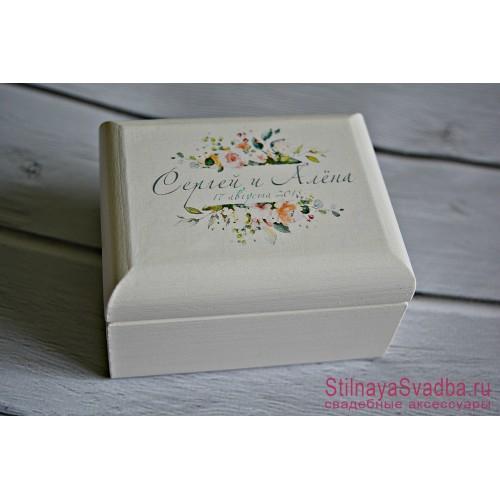 Винтажная  свадебная  шкатулочка с цветами фото