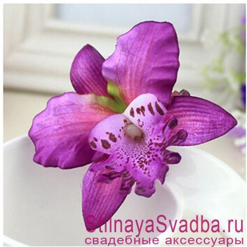Заколки с орхидеями  фиолетового цвета фото