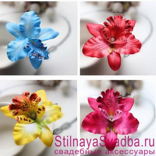 Заколки с орхидеями  в прическу разного цвета фото