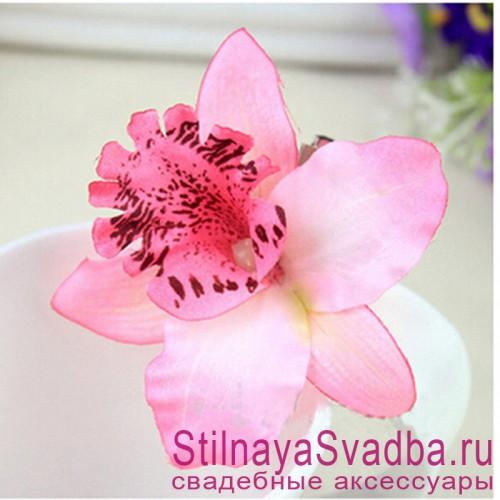 Заколки с орхидеями  розового цвета фото