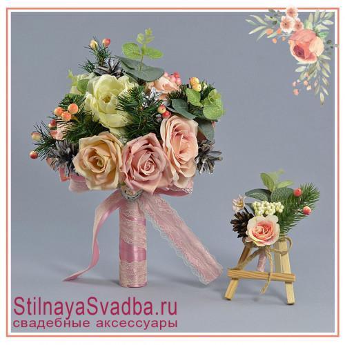 Зимний свадебный букет невесты  в бело-розовых  тонах фото