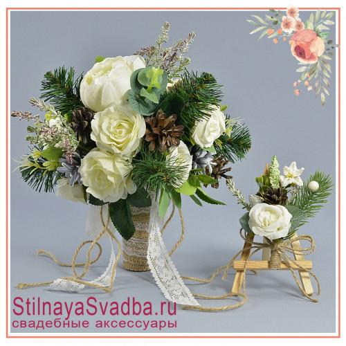 Зимний свадебный букет невесты  в бело-зелёных  тонах фото