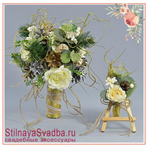 Зимний свадебный букет невесты  в бело-золотистых  тонах фото