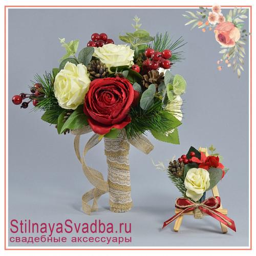 Зимний свадебный букет невесты  в красно- белых тонах фото